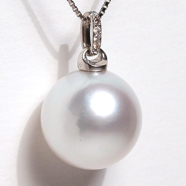 白蝶真珠パールペンダント直径13.3mmプラチナダイヤ0.03ct|wizem|04