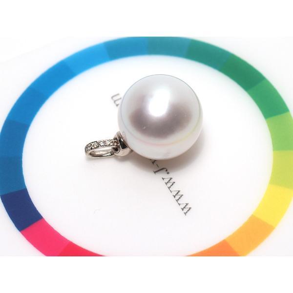 白蝶真珠パールペンダント直径13.3mmプラチナダイヤ0.03ct|wizem|05