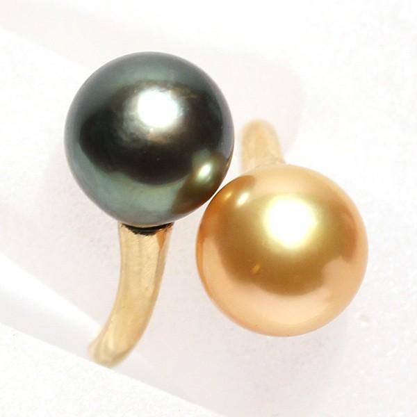 パールリング南洋真珠11mmUP2珠K18遊び心があるリングサイズ12.5指輪グリーン&ゴールド|wizem|04