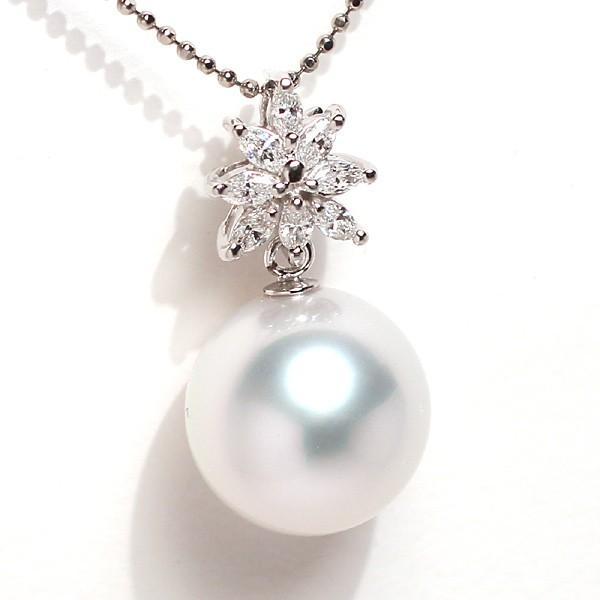 パールペンダント白蝶真珠幅12.8mm縦13mmプラチナ製マーキスカットダイヤモンドでゴージャス45cmフリーチェーン付属|wizem|06