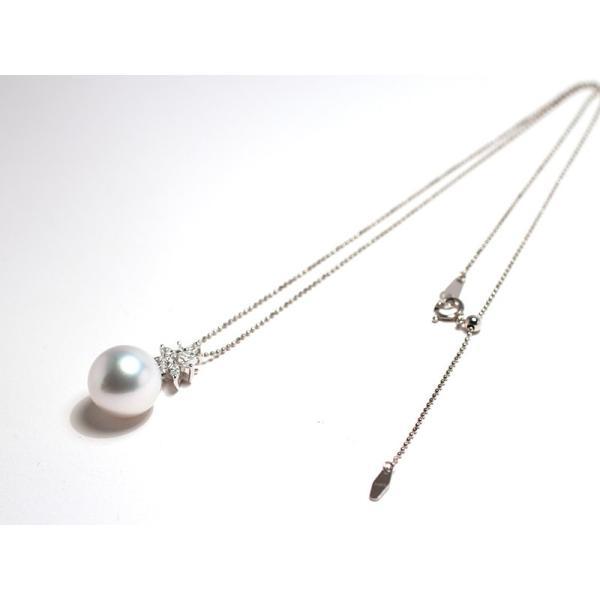パールペンダント白蝶真珠幅12.8mm縦13mmプラチナ製マーキスカットダイヤモンドでゴージャス45cmフリーチェーン付属|wizem|07