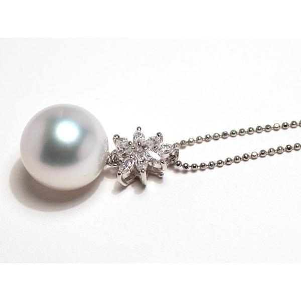 パールペンダント白蝶真珠幅12.8mm縦13mmプラチナ製マーキスカットダイヤモンドでゴージャス45cmフリーチェーン付属|wizem|09