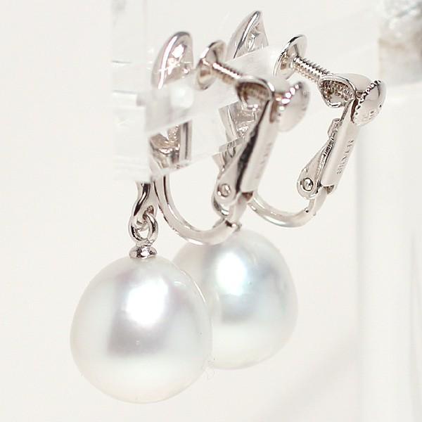 スウィングパールイヤリング白蝶真珠幅10.5mm縦10.9mmネジバネ式SILVERイヤリング正面からみた全長約27mm|wizem|03