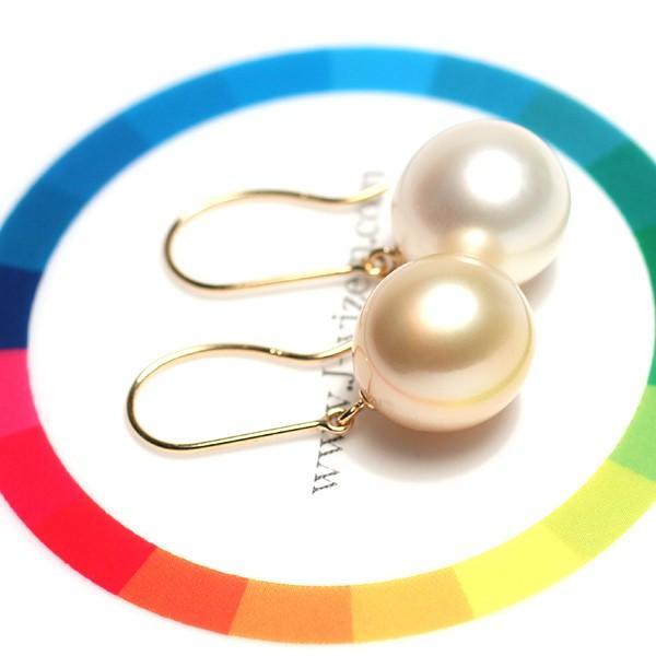 K18パールフックピアス ゴールド&ホワイト色白蝶真珠幅10.8mm縦11.6mmUPつりばり型L|wizem|05