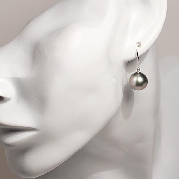 ホワイト&グレイパールピアス南洋真珠11mmつりばり型LフックK14WGピアス正面からみた全長真珠含む約27mm|wizem|08