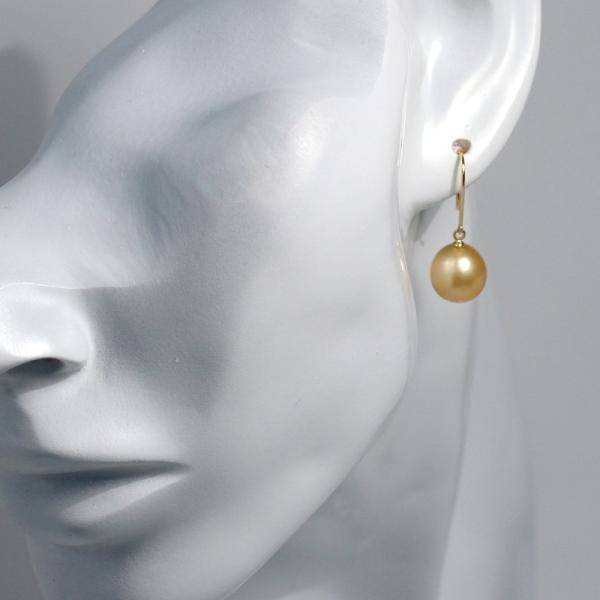 パールピアスK18ゴールド色幅9.6mm縦10.4mmUPつりばり・フックピアス南洋真珠|wizem|07
