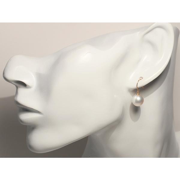 パールピアス白蝶真珠2珠 幅9.1mmUP縦9.9mmオーバル形K18フックピアス|wizem|05
