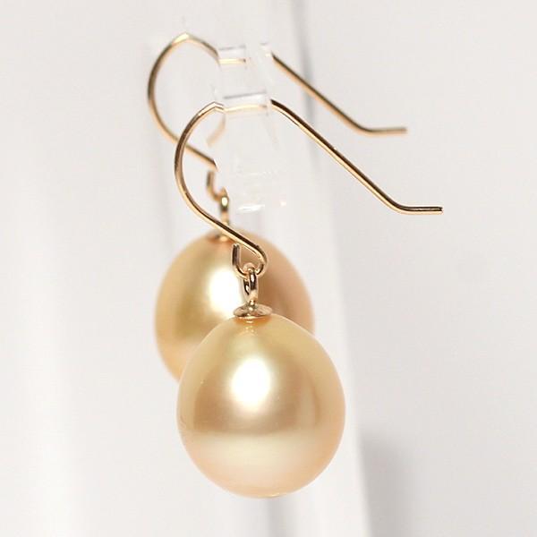 ゴールドパールピアスK18白蝶真珠幅9.6mm縦10.4mmUPつりばりフックピアス|wizem|02