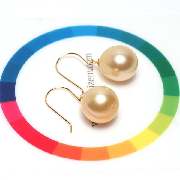 ゴールドパールピアスK18白蝶真珠幅9.6mm縦10.4mmUPつりばりフックピアス|wizem|05