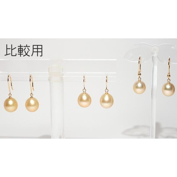 ゴールドパールピアスK18白蝶真珠幅9.6mm縦10.4mmUPつりばりフックピアス|wizem|06