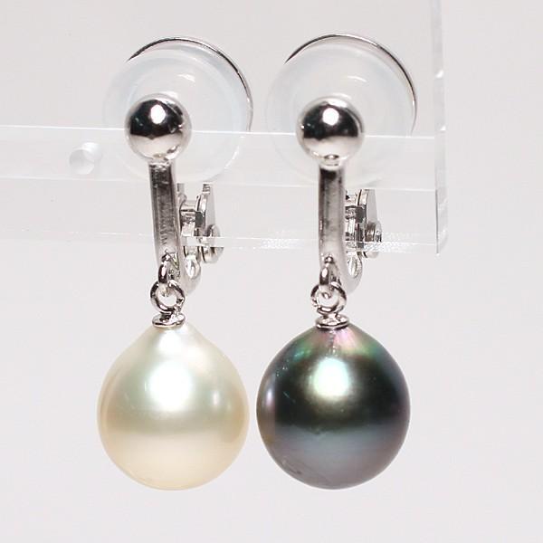 パールイヤリング黒蝶真珠と白蝶真珠幅9mm縦10mmドロップ形SILVERソフトタッチイヤリングブラ下がり微調整可|wizem