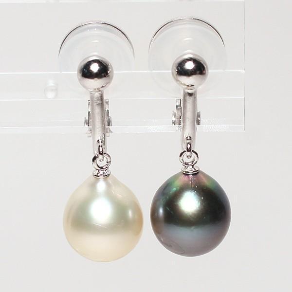 パールイヤリング黒蝶真珠と白蝶真珠幅9mm縦10mmドロップ形SILVERソフトタッチイヤリングブラ下がり微調整可|wizem|02