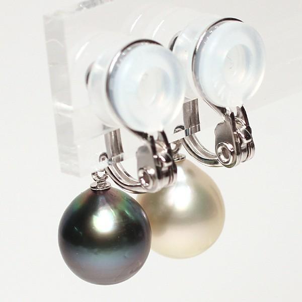 パールイヤリング黒蝶真珠と白蝶真珠幅9mm縦10mmドロップ形SILVERソフトタッチイヤリングブラ下がり微調整可|wizem|03