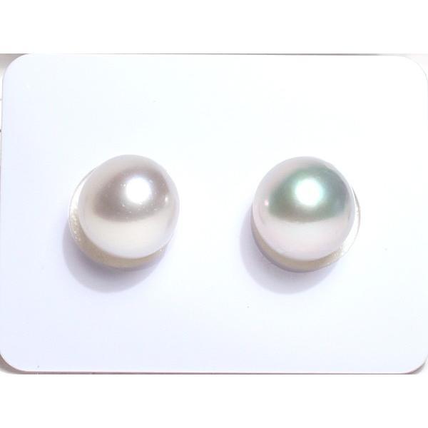 パールペアルース白蝶真珠2珠 幅9.3mm縦9.7mmオーバル形無穴材料|wizem
