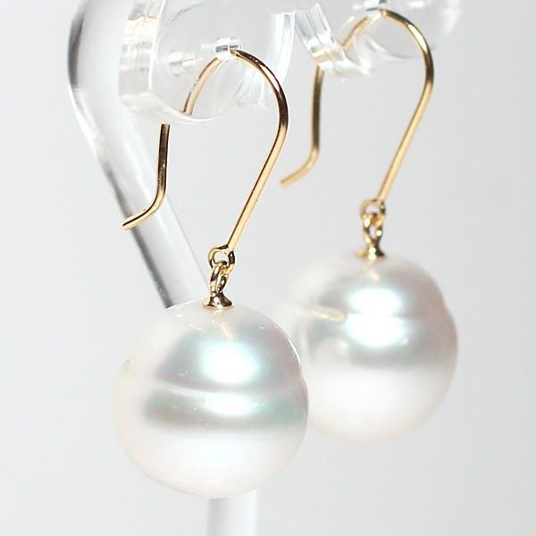 パールピアス 白蝶真珠幅12.7mmバロック形 イエローゴールドK18つりばり型Lピアス|wizem|03