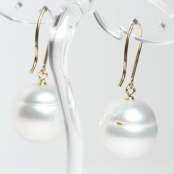 パールピアス 白蝶真珠幅12.7mmバロック形 イエローゴールドK18つりばり型Lピアス|wizem|05