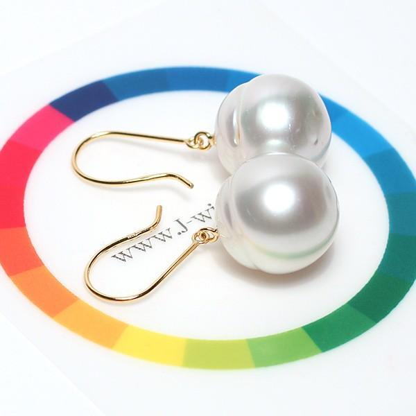 パールピアス 白蝶真珠幅12.7mmバロック形 イエローゴールドK18つりばり型Lピアス|wizem|06