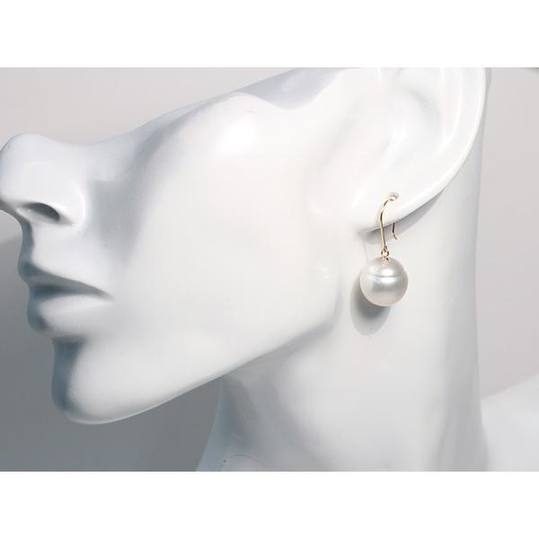 パールピアス 白蝶真珠幅12.7mmバロック形 イエローゴールドK18つりばり型Lピアス|wizem|09