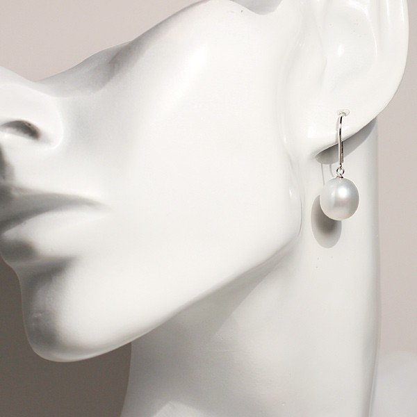 パールフックピアス 白蝶真珠オーバル形幅10.3mm縦11.3mmホワイトゴールドK14WGつりばり型Lピアス|wizem|05