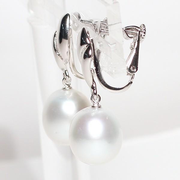 パールイヤリング白蝶真珠幅10.6mmt縦11.8mmシルバーネジバネ式揺れるイヤリング