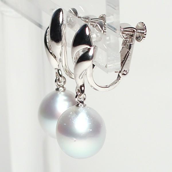 パールイヤリング白蝶真珠幅9.2mmt縦10.5mmUP少々いびつなドロップ形シルバーネジバネ式揺れるイヤリング ブルー系色|wizem|02