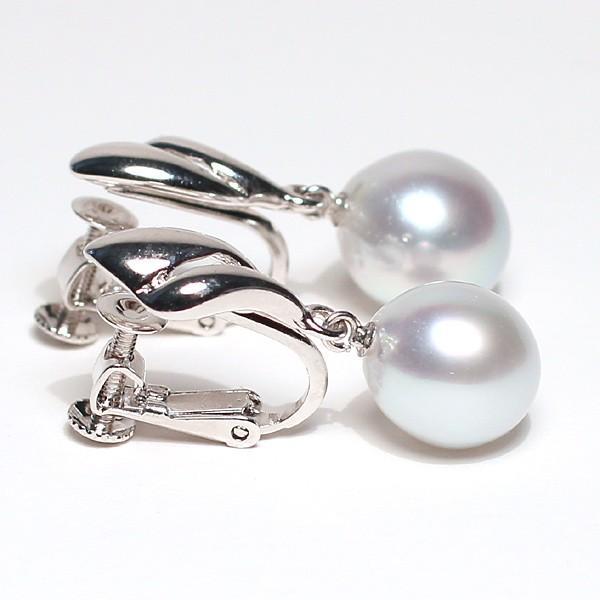 パールイヤリング白蝶真珠幅9.2mmt縦10.5mmUP少々いびつなドロップ形シルバーネジバネ式揺れるイヤリング ブルー系色|wizem|03