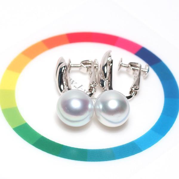 パールイヤリング白蝶真珠幅9.2mmt縦10.5mmUP少々いびつなドロップ形シルバーネジバネ式揺れるイヤリング ブルー系色|wizem|05