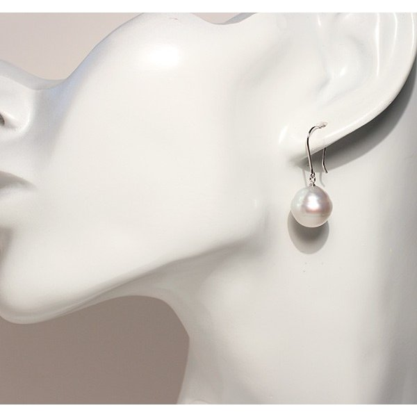 パールフックピアス白蝶真珠バロック形幅11.7mmホワイトゴールドK14WGつりばり型Lピアス|wizem|06