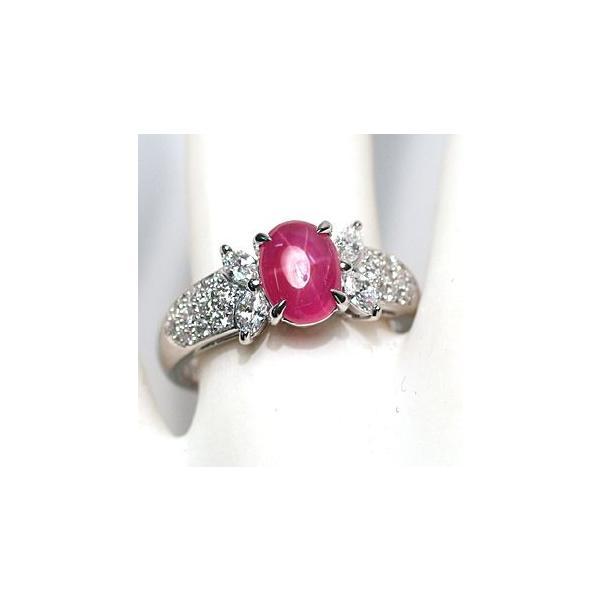 スタールビー指輪1.639ctプラチナダイヤリング ルース鑑別書付 スターが美しく浮かび上がる|wizem