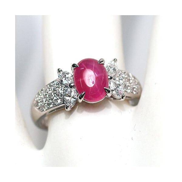 スタールビー指輪1.639ctプラチナダイヤリング ルース鑑別書付 スターが美しく浮かび上がる|wizem|02