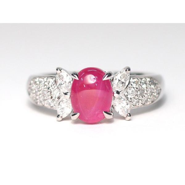 スタールビー指輪1.639ctプラチナダイヤリング ルース鑑別書付 スターが美しく浮かび上がる|wizem|08