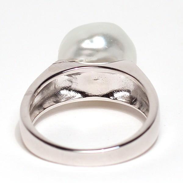 パールシルバーリング 白蝶真珠バロック形幅11.6mmブルー色がかったホワイト色 指輪サイズ13サイズ変更不可|wizem|04