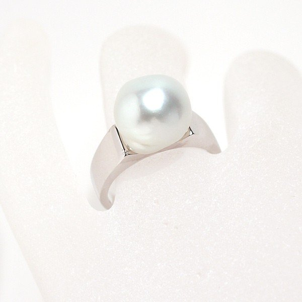 パールシルバーリング 白蝶真珠バロック形幅11.6mmブルー色がかったホワイト色 指輪サイズ13サイズ変更不可|wizem|06