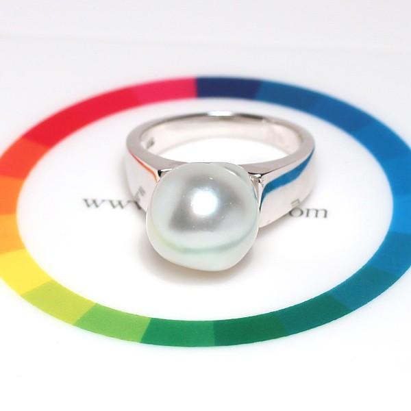 パールシルバーリング 白蝶真珠バロック形幅11.6mmブルー色がかったホワイト色 指輪サイズ13サイズ変更不可|wizem|07