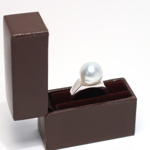 パールシルバーリング 白蝶真珠バロック形幅11.6mmブルー色がかったホワイト色 指輪サイズ13サイズ変更不可|wizem|08