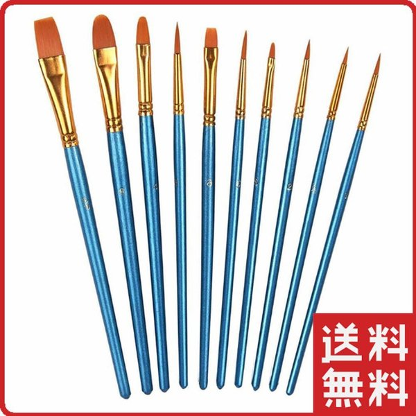 Xpassion 画材筆 ペイント ブラシ アクリル筆 水彩筆 油絵筆 画筆 丸筆 平型筆 平型円頭筆 短毛筆 アクリル絵の具 10本セット ブルー|wlo