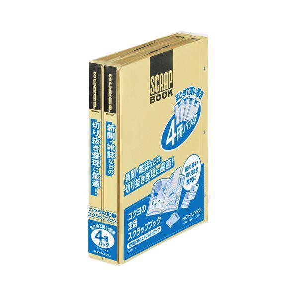 (まとめ) コクヨ スクラップブックD(とじこみ式) A4 中紙28枚 背幅25mm クラフト ラ-40NX4 1パック(4冊) 〔×4セット〕