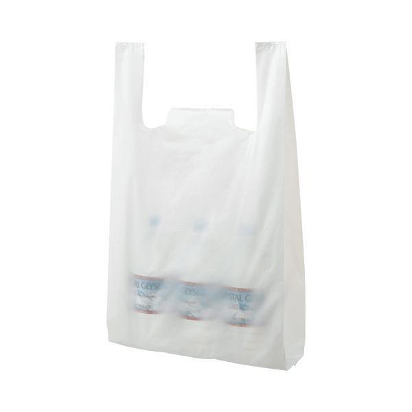 (まとめ) TANOSEE 乳白レジ袋 60号 ヨコ340×タテ590×マチ幅160mm 1パック(100枚) 〔×10セット〕