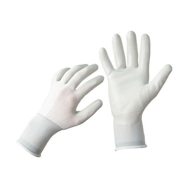 (まとめ)TANOSEE ニトリル 背抜き手袋 L ホワイト/グレー 1パック(5双) 〔×10セット〕