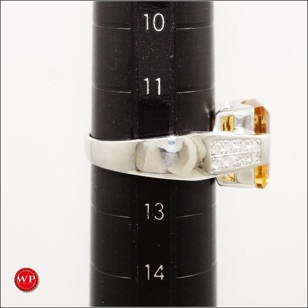 リング K18 18金 WG ホワイトゴールド 12号 シトリン 4.64 ダイヤ 0.213|wonderprice|05