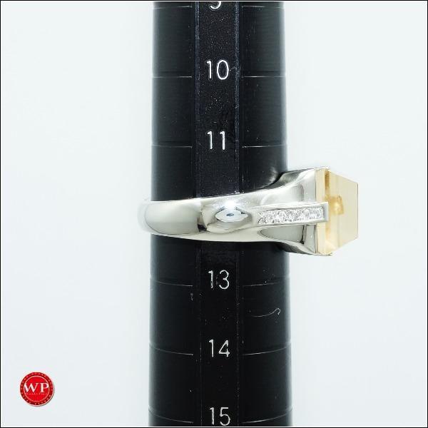 リング K18 18金 WG ホワイトゴールド 12号 シトリン 5.00 ダイヤ 0.07|wonderprice|05
