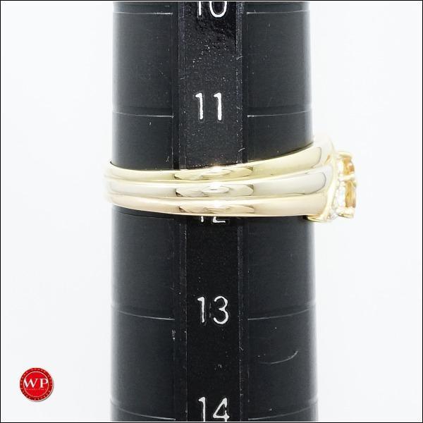 リング K18 18金 YG イエローゴールドWGPG 11.5号 シトリン ダイヤ|wonderprice|05