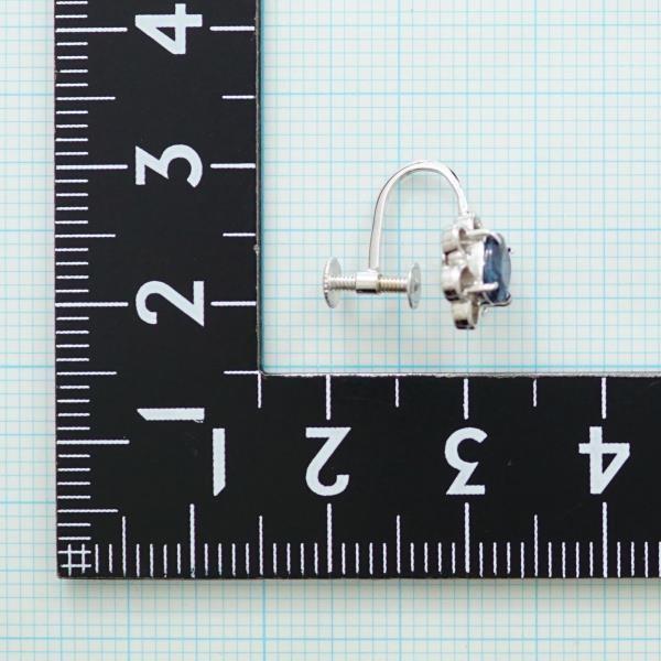 イヤリング K14 14金 WG ホワイトゴールド (片耳) サファイア 0.43