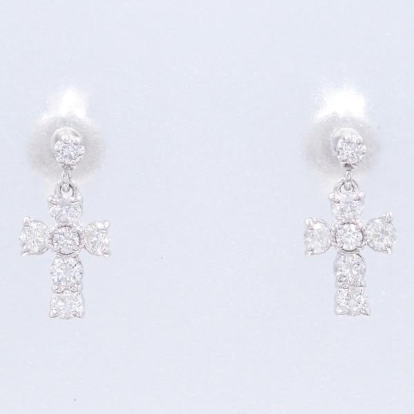 ピアス K18 18金 WG ホワイトゴールド ダイヤ 0.15×2