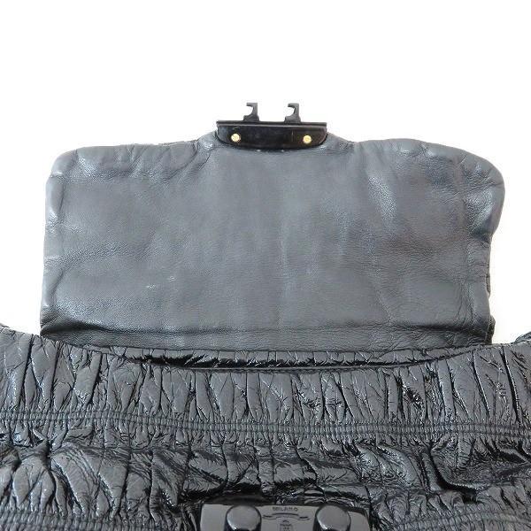 プラダ PRADA ギャザー エナメル プラチェーン BR4050 ブラック バッグ ショルダーバッグ レディース 【あすつく】