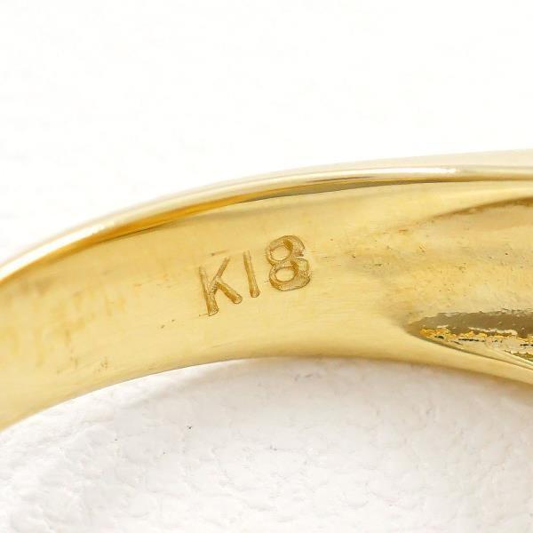 リング K18 18金 YG イエローゴールド 13号 パール 約13mm ダイヤ 0.08