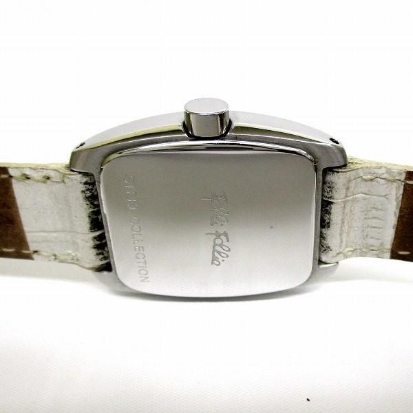 フォリフォリ スチールコレクション ジルコニア レザー クォーツ ホワイト 時計 腕時計 レディース 【中古】【あすつく】