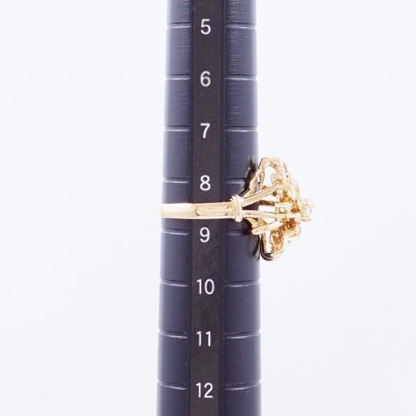 リング K18 18金 YG イエローゴールド 8.5号 ダイヤ 0.28