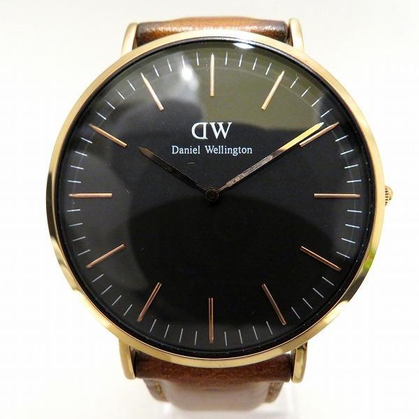ダニエルウェリントンB40R5クォーツブラック文字盤革ベルト時計腕時計メンズ 中古  あすつく