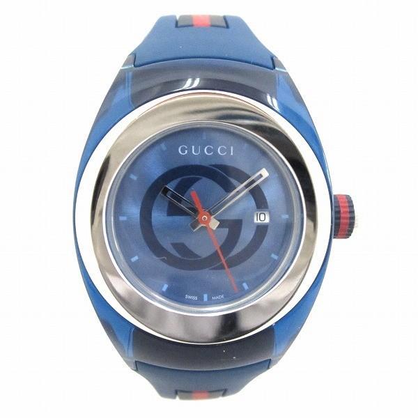 e3f19da98347 グッチ GUCCI シンク 137.3 ブルー ラバー 時計 腕時計 レディース 【中古】【あすつく】